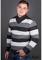 Мужской свитер в полоску Рубин черный