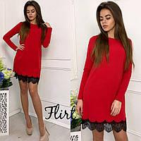 Платье модное короткое с кружевом креп-костюмка 5 цветов SMfL1694