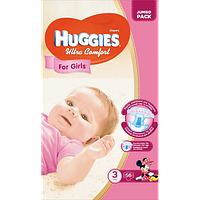 Подгузники детские Huggies Ultra Comfort 3, 5-9 кг 56 шт для девочек Jumbo Pack
