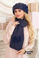 Комплект Офелия (берет и шарф) джинсовый