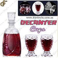 """Стеклянный графин - """"Decanter Cups"""" + 2 стакана!"""