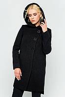 """Зимнее пальто с капюшоном """"Стефани"""" черное"""
