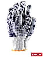 Защитные перчатки выполненные из толстого трикотажа с двусторонним точечным покрытием RDZNN600 WN