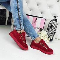 Модные замшевые кеды, криперы красного цвета в стиле известного бренда