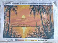 Рисунок на канве для вышивки нитками и бисером Пальмы на закате