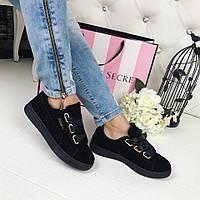 Модные замшевые кеды, криперы черного цвета в стиле известного бренда