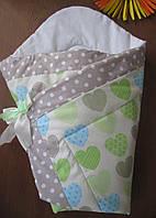 Конверт одеяло на выписку хлопок салатовые сердечки