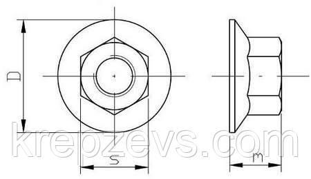 Схема габаритных размеров гайки DIN 6923