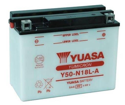 Аккумулятор кислотный 20Ah 240A YUASA Y50-N18L-A Р, фото 2