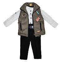 Костюм для мальчика джинс+х/б 80-92 жилет+рубашка+штаны арт.2315