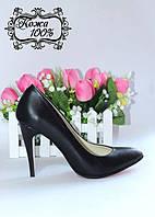 Кожаные женские туфли - лодочки T2 на высоком каблуке
