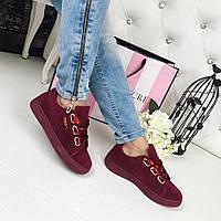 Модные замшевые кеды, криперы бордового цвета в стиле известного бренда