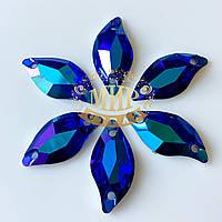Пришивные листики (синтетич.стекло)  Цвет Sapphire AB 9x20*1шт
