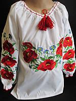 Белые блузы вышитые маками для девочек