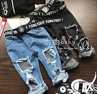 Бриджи для девочек джинсовые с сеткой