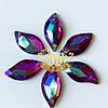 Пришивные листики (синтетич.стекло)  Цвет Fuchsia AB 9x20*1шт