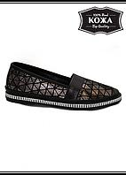 Женские кожаные туфли Т 15 на плоской подошве