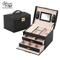 Шкатулка для украшений органайзер коробка черная
