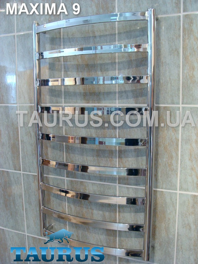 Стильный полотенцесушитель из н/ж стали Maxima 9 /950х500: водяной, электро или гибрид. Плоская труба 30х10 мм