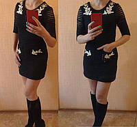Платье с вышивкой и карманами 1620 черный 46р