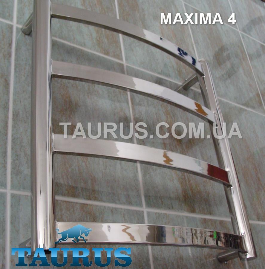 Компактный полотенцесушитель Maxima 4 /450х500 из н/ж стали с плоскими перемычками 30х10. Гибридный, вода, ТЭН