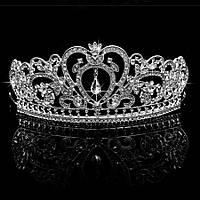 Свадебная диадема, корона, тиара на голову для невесты посеребрение 4758с-а