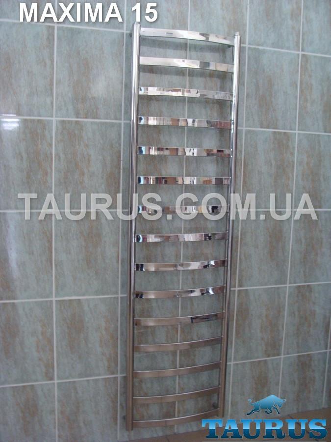 Огромный стильный полотенцесушитель Maxima 15/1550х500 в ванную комнату. Плоская перемычка 30х10 мм