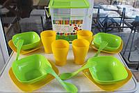 """Набор пластиковой посуды для пикника """"Алеана"""" на 4 персоны"""