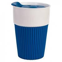 Керамическая чашка с крышкой Синяя, фото 1