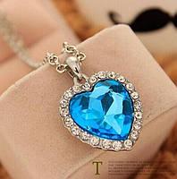 """Модная подвеска украшение """"Сердце с голубым кристаллом"""", серебристый цвет"""