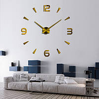 Часы зd настенные/объёмные (Золото Gold Зеркало Акриловые)