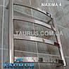 Низкий и узкий полотенцесушитель Maxima 4 /450х450 квадратный. Плоская труба 30х10. Нержавеющий. Вода + ТЭН, фото 2