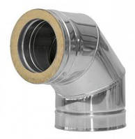 Колено для дымохода 90° утеплённое, нерж\оц., 100/160 мм (сталь 0,5 мм) AISI304