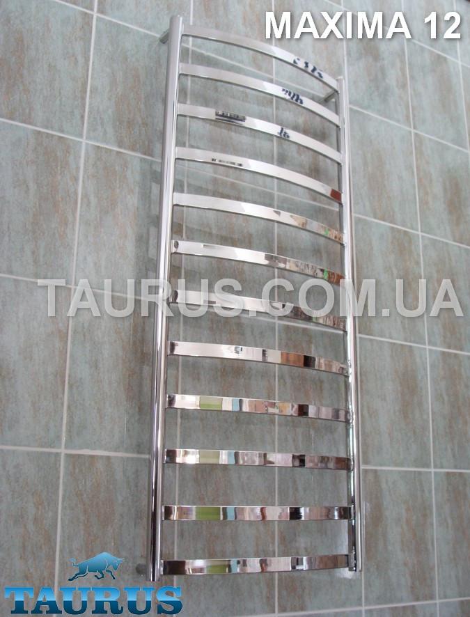 Узкий, высокий полотенцесушитель Maxima 12 /1250х400 мм. с профильной перемычкой 30х10. Вода + ТЭН и гибридный