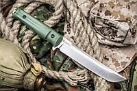 Нож туристический Senpai Сатин AUS-8, зеленая рукоять, Kizlyar Supreme