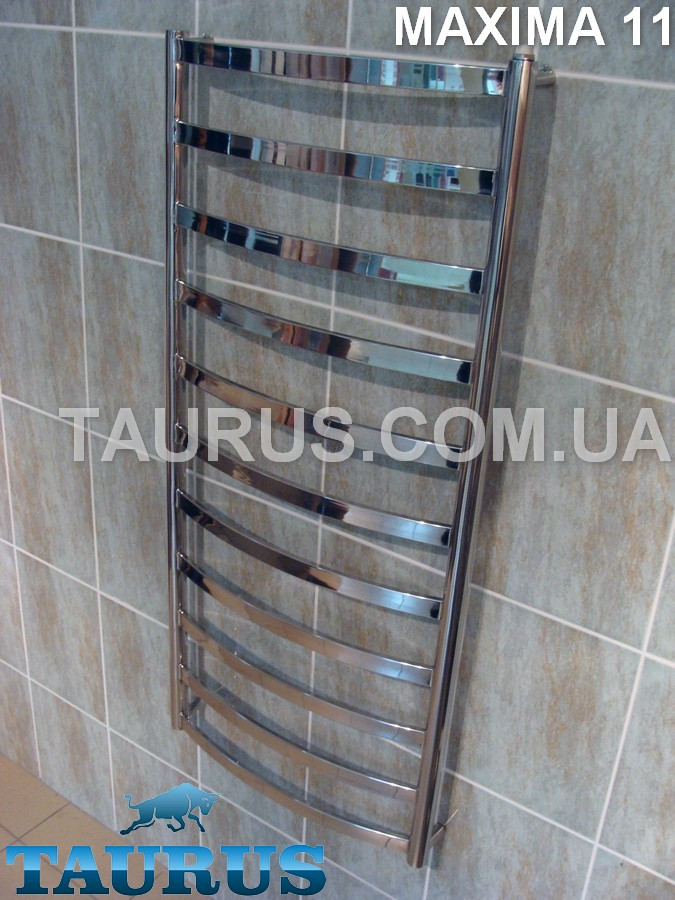 Модный полотенцесушитель Maxima 11 /1150х450 из плоских выгнутых труб 30х10 н/ж сталь. Под электро и отопление