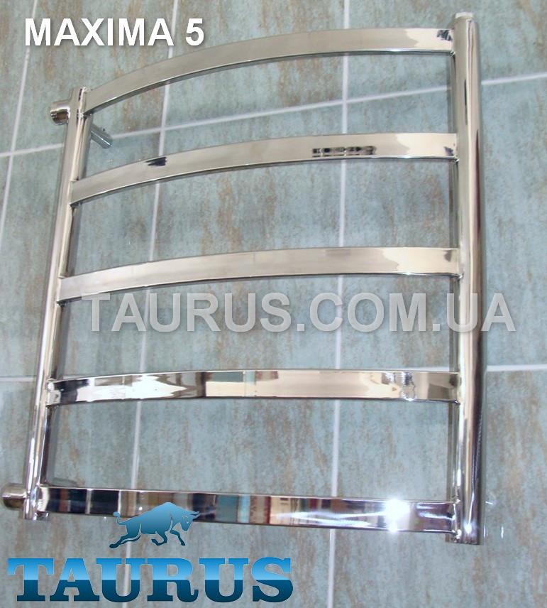 Низкий и узкий полотенцесушитель Maxima 5 / 550х400; Водяной; Электро; Комбинированный (гибридный). Н/ж сталь