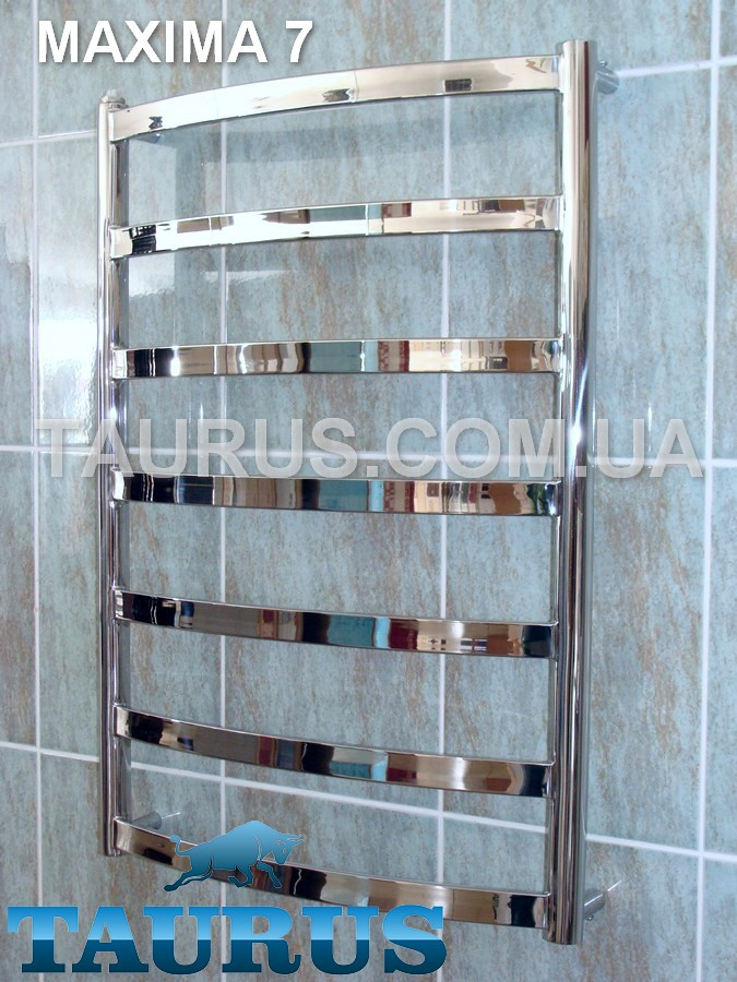 Элегантный полотенцесушитель Maxima 7 / 750 х 450, плоские н/ж перемычки 30х10. Все режимы работы: Вода + ТЭН