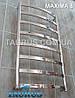 Неширокий полотенцесушитель Maxima 8 /850х450 с перемычками из плоской н/ж трубы 30х10. Стойка круглая 32 мм, фото 3