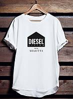 Белая футболка мужская DIESEL (Дизель) с принтом спортивная удлиненная хлопок