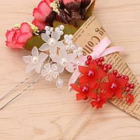 Свадебная шпилька с жемчугом ювелирная бижутерия посеребрение 4764с