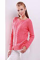 Вязаный свитер в косички цвета коралл