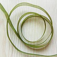 Лента органза  зелёная (6 мм) - 5 метров