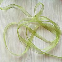 Лента органза  зелёная 3 (6 мм) - 5 метров (товар при заказе от 200 грн)