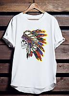 """Белая футболка мужская """"Comanche"""" Индеец с принтом спортивная удлиненная хлопок"""