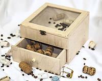 Комод-шкатулка на 2 деления стекло 20х20х13 см фанера заготовка для декора