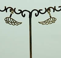 2354 Серьги крылья со стразами (гвоздики) оптом. Ювелирные украшения.