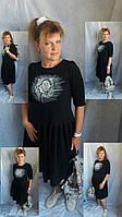 Ексклюзивна жіноча сукня міді з розписом на тканині 9 кольорів. Платье с ручной росписью миди