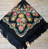 Модный платок для девушки (110х110см, 80%-шерсть, черный), фото 1