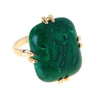 """Кольцо """"Аигба"""" с малахитом, покрытое золотом (e634p0m9)"""